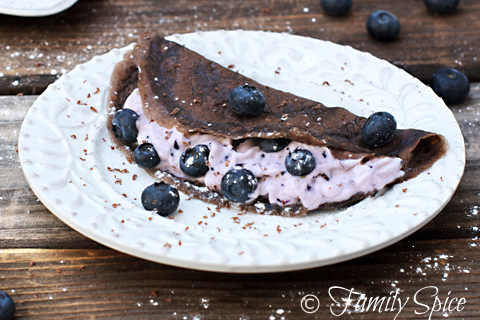 Dark Chocolate Crepes with Blueberry Cream from Family Spice