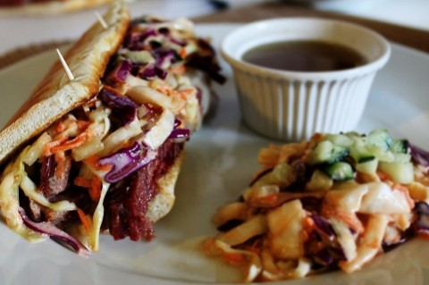 Reuben Style French Dip with Spicy Slaw