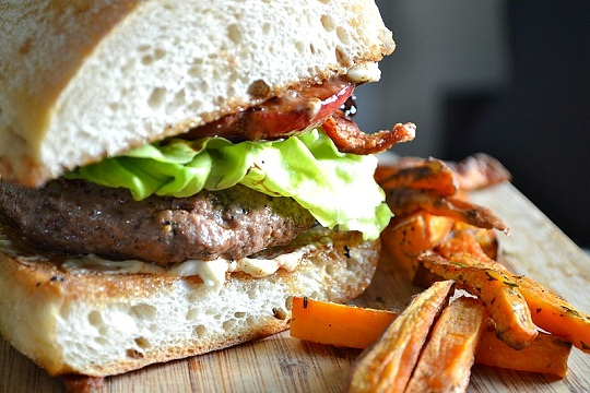 Bacon, Blue Cheese, and Peach Burgers