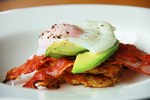 Potato Rosti Stack with Avocado, Bacon, and a Poached Egg