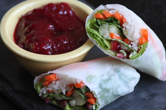 Turkey Spring Rolls with Cranberry Sweet and Sour Dipping