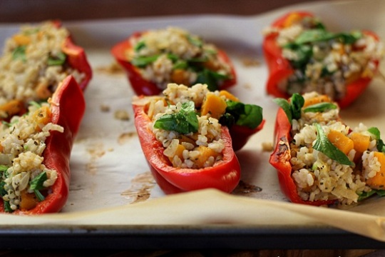 Squash & Brown Rice Stuffed Bell Peppers