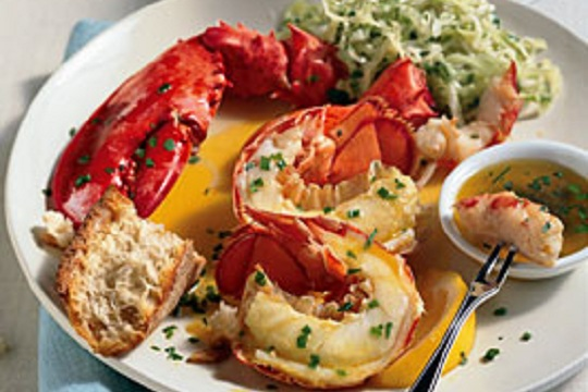 Steamed Lobster with Lemon-Herb Butter Photo By Brian Leatart