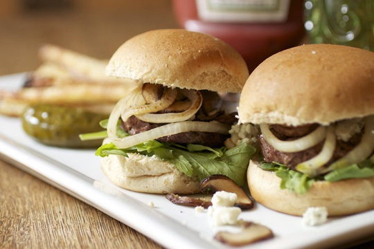 Bison, Blue Cheese, and Baby Bella Mushroom Sliders from Cookin' Skinny