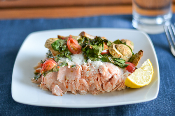 Baked Salmon with Tomatoes, Spinach and Mushrooms from Salu Salo