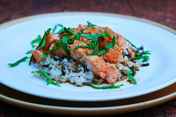 Salmon Fillet with Sake Sauce and Wild Rice from Julia's Album