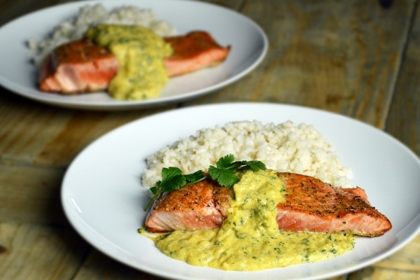Salmon with Mango Sauce and Coconut Rice from Cynthia Presser