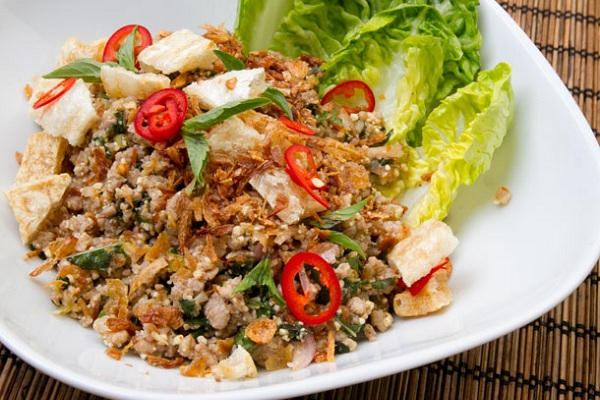Pork Larb (Thai Salad with Pork, Herbs, Chili, and Toasted Rice Powder) from Serious Eats Photo by Robyn Lee