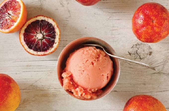 Blood Orange Sorbet fom Leite's Culinaria