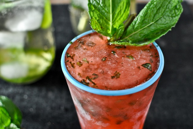 Cherry Mint Julep Slushies from How Sweet It Is