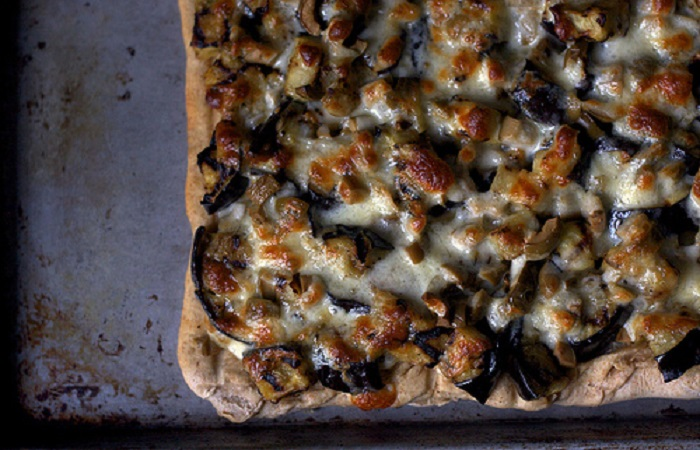 Grilled Eggplant and Olive Pizza from Smitten Kitchen